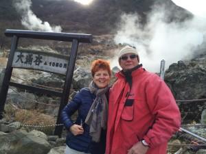 マリオとアニエーゼと大湧谷に行きました。