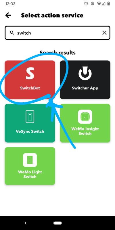 IFTTTでアクションサービスSwitchBotを選ぶ