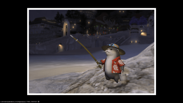 Screenshot of the Abroader Otter on a rock on the beach of The Mist, with a photo frame.