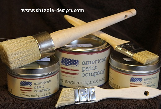 American Paint Company Deluxe Waxing Kit from Shizzle Design www.shizzle-design.com clear, light and dark antiquing wax, 1.5 brush, 2 detail wax brushes 3