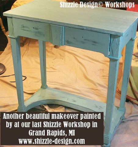 September 15 Shizzle Style Furniture Paint Workshop Grand Rapids Michigan #americanpaintcompanys Surfboard, Beach Glass, blue, teal chalk clay paint www.shizzle-design 2