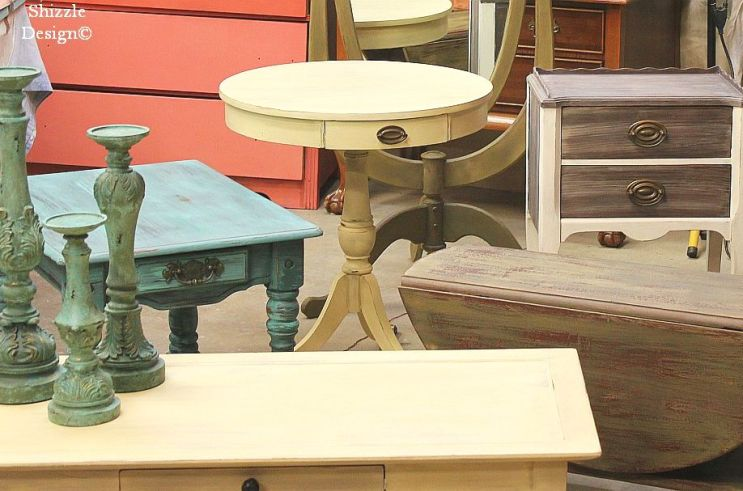 Cinco Bayou Moss, Virginia Chestnut, Destin Gulf Green, Shizzle Design Paint Your Own Furniture Workshop, CeCe Caldwell's chalk and clay paint, ideas, colors, inspiration, accent tables, home decor