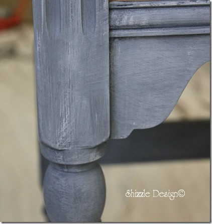 Pittsburgh Gray over Vermont Slate painted on an old oak table dry brushed Shizzle Style paint workshop MSU