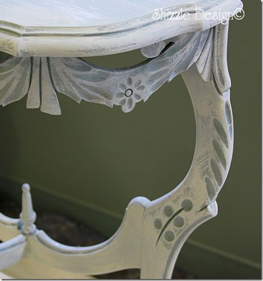 Smoky Mountain Vintage White on ornate half table painted at a Shizzle Style Furniture Painting Workshop CeCe Caldwell's chalk clay paint MSU