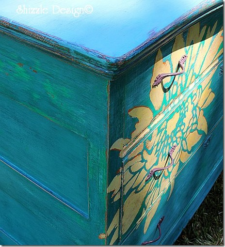 Painte furniture close up of hand painted dresser by Shizzle Design American Chalk and Clay paints Michigan Surfboard, Beach Glass