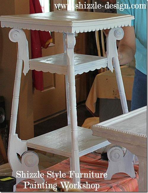 Shizzle Design Furniture Painting Workshop DURING Byron Center, michigan CeCe Caldwell's Chalk Clay Paints ideas colors tables chair night stands tips learn how to 5 18 13 9