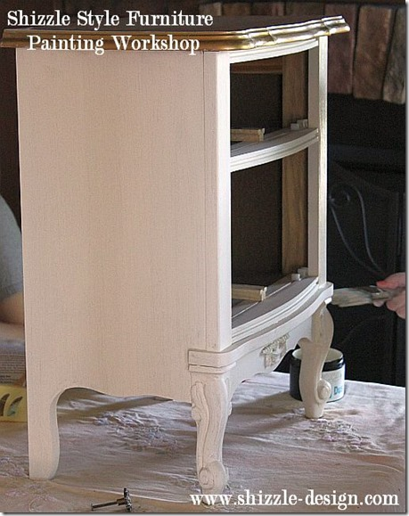 Shizzle Design Furniture Painting Workshop DURING Byron Center, michigan CeCe Caldwell's Chalk Clay Paints ideas colors tables chair night stands tips learn how to 5 18 13 3