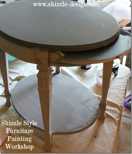 Shizzle Design Furniture Painting Workshop DURING Byron Center, michigan CeCe Caldwell's Chalk Clay Paints ideas colors tables chair night stands tips learn how to 5 18 13 5