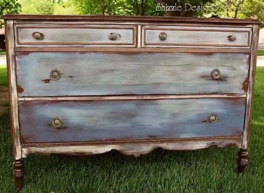 antique dresser hand painted and waxed by Shizzle Design in CeCe Caldwell's Chesapeake Blue, Aging Dust, Dover White, vintage Michigan chalk clay paint front vintage best pictures painted furniture favorite