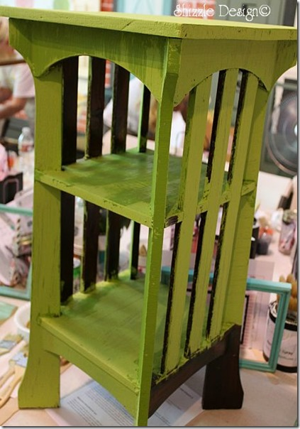 side table painted at the paint fundraising workshop in May 2013 shizzle design spring hill green cece caldwell's paints