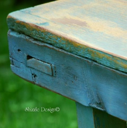 CeCe Caldwell's Destin Gulf Green primitive bench  Michigan color ideas inspiration spring Shizzle Design Grand Rapids MI chalk clay best paint workshops classes how to online paint sales