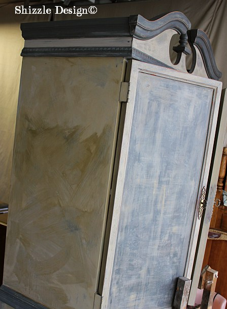 French Country Armoire Shizzle Design, ideas, gray, furniture, chalk, clay, American Paint Company, Michigan funky finish layered doors 18