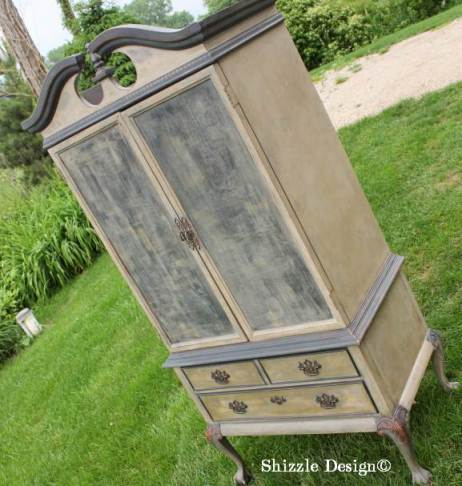 French Country Armoire Shizzle Design, ideas, gray, furniture, chalk, clay, American Paint Company, Michigan funky finish layered doors 20