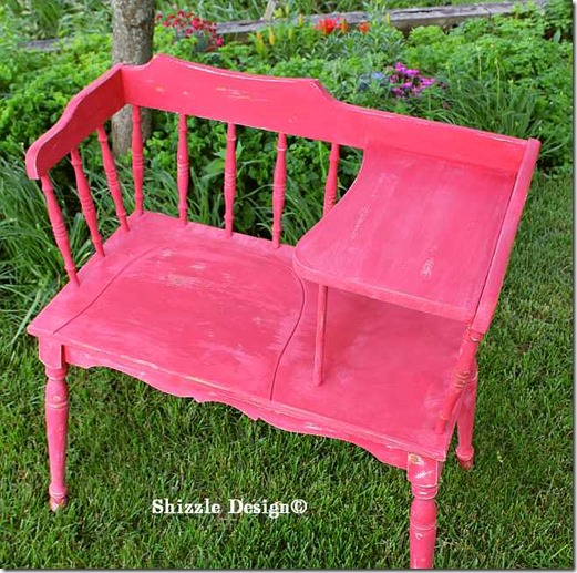 June 15 Red Gossip bench painted at a Shizzle Style Furnitiure #Workshop in #AmericanPaintCompany's Firework's Red Grand Rapids, Michigan after