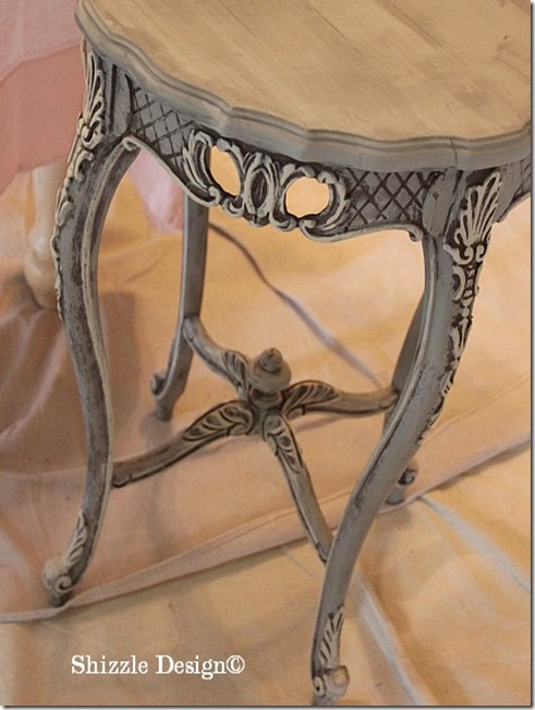 June 15 ornate antique hand carved accent table hand painted using CeCe Caldwell's Virginia Chestnut, Pittsburgh Gray, Young Kansas Wheat, Byron Center, MI 2 during
