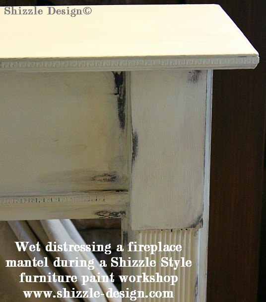 July 9 Shizzle Style Paint Workshop Grand Rapids Michigan wet distressing hand painted fireplace mantel surround white brown CeCe Caldwell's