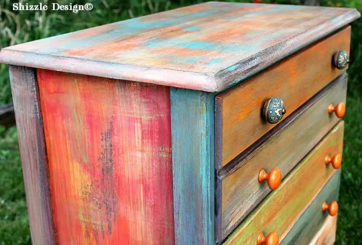 Patchwork #painteddresser Shizzle Design Grand Rapids, Michigan chalk clay paints #paintedfurniture best colors ideas #americanpaintcompany 12