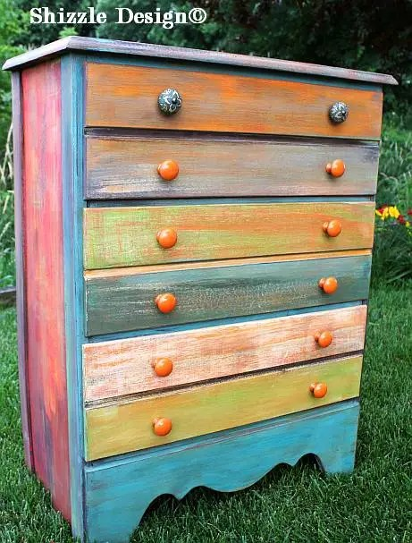 Shizzle design whimsical patchwork painted dresser Best color to paint dresser