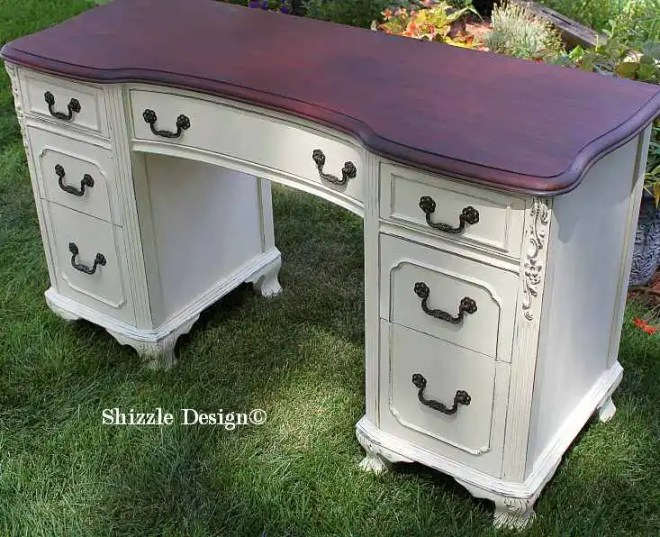Shizzle Design Michigan #americanpaintcompany antique white Home Plate Dollar Bill chalk clay painted vanity desk ideas 1