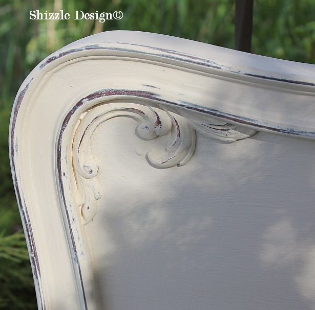 Shizzle Design Michigan #americanpaintcompany creamy white Home Plate Rushmore Heaven's Light chalk clay paint bedroom footboard 1