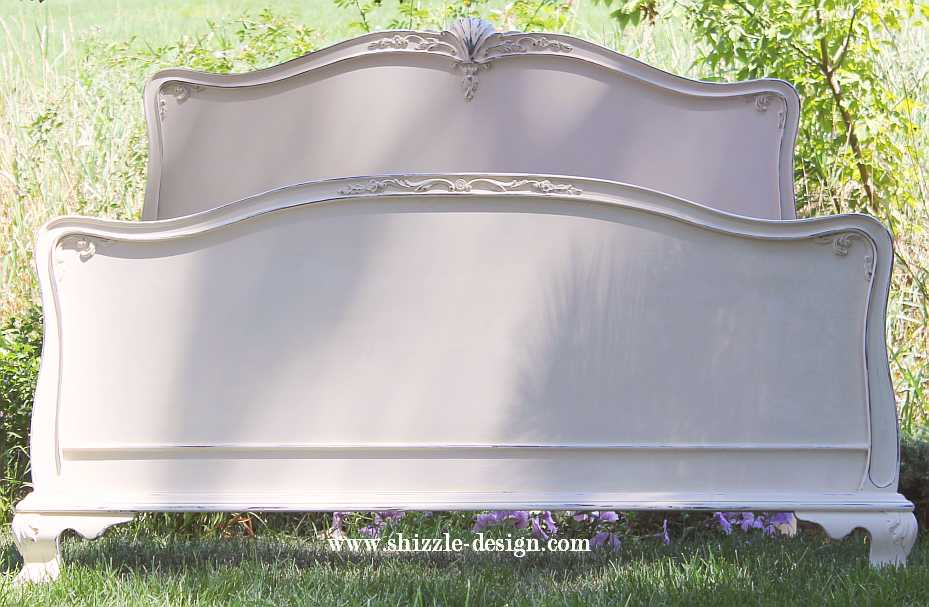 Shizzle Design Gorgeous Antique Mahogany Bed Painted In Creamy White
