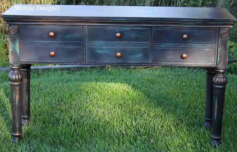 Shizzle Design Painted Furniture Grand Rapids Michigan black teal chalk clay paints console table CeCe Caldwell's Beckley Coal American Paint Company's Dark Antiquing Wax 3