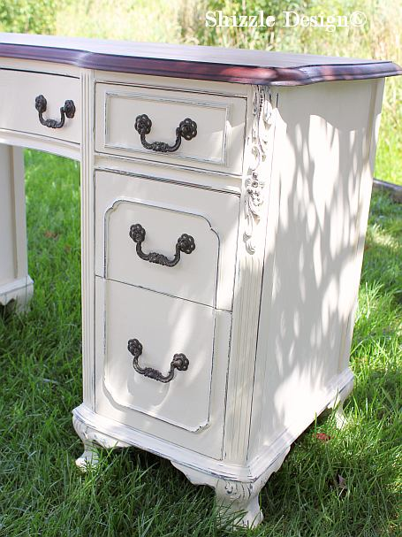 Shizzle Design painted furniture Michigan #americanpaintcompany white Home  Plate Dollar Bill Rushmore Heaven's Light chalk - Shizzle Design Antique Vanity Painted In Custom Mixed Creamy White