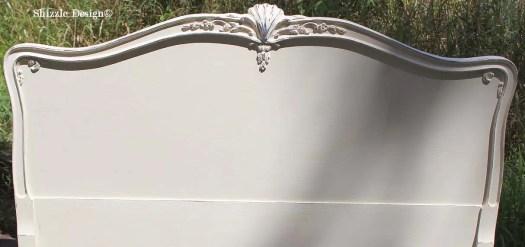 Shizzle Design painted furniture Michigan #americanpaintcompany white Home Plate Dollar Bill Rushmore Heaven's Light chalk clay paint headboard details 3