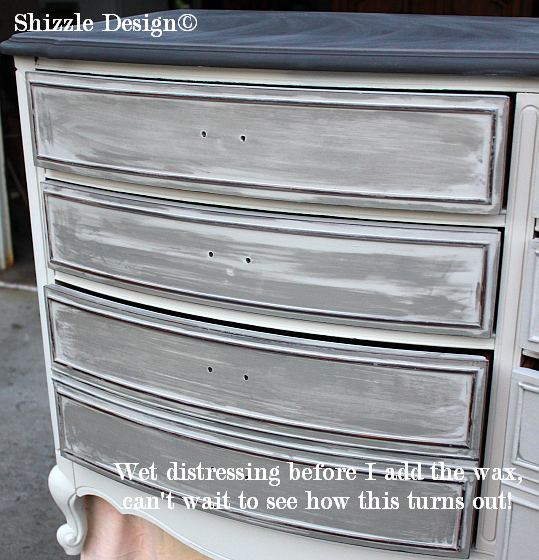 French Provencial dresser painted in gray, white, layered chalk, clay paints Shizzle Design furniture during chalk clay ideas 2