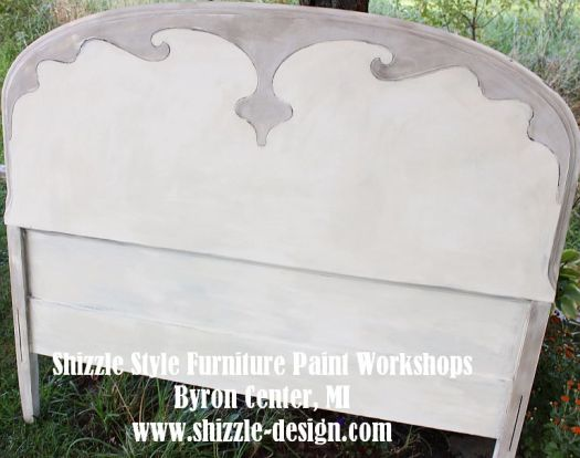 September 15 - Shizzle Style Furniture Paint Workshop Martha's painted headboad cream taupe chalk clay paint