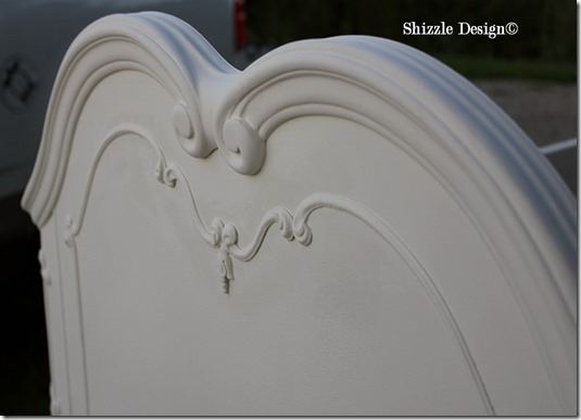 Shizzle Design Painted Furniture White Antique Princess bed ideas ornate American Paint Company CeCe Caldwell's chalk clay footboard 1