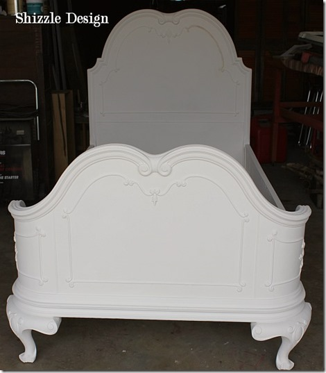 Shizzle Design Painted Furniture White Antique Princess bed ideas ornate headboard footboard American Paint Company CeCe Caldwell's chalk clay during 2