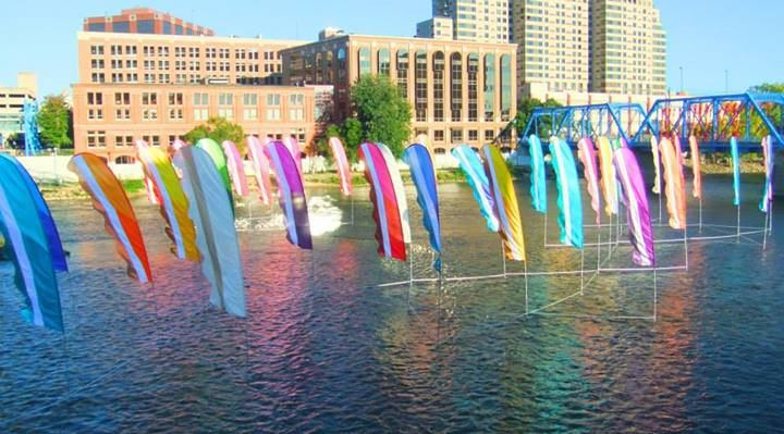 Art Prize Shizzle Design photos best pictures Grand Rapids Michigan Grand River flags 2