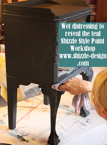 October Workshops #shizzledesign furniture paint chalk clay best Grand Rapids MI how #cececaldwells #americanpaintcompany teal black wet distress