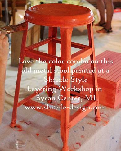 October Workshops #shizzledesign furniture paint workshops chalk clay best Grand Rapids MI how to table #cececaldwells #americanpaintcompany Kissimmee Orange Traverse City Cherry 4 stool