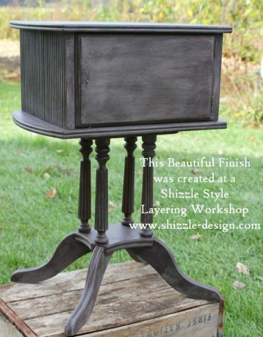 October Workshops #shizzledesign furniture paint workshops chalk clay best Grand Rapids MI how to table #cececaldwells #americanpaintcompany Pittsburgh Gray Virginia Chestnut brown 1