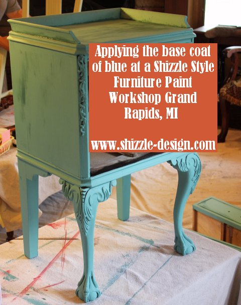 October Workshops #shizzledesign furniture paint workshops chalk clay best Grand Rapids MI how to table #cececaldwells #americanpaintcompany during french end table blue black