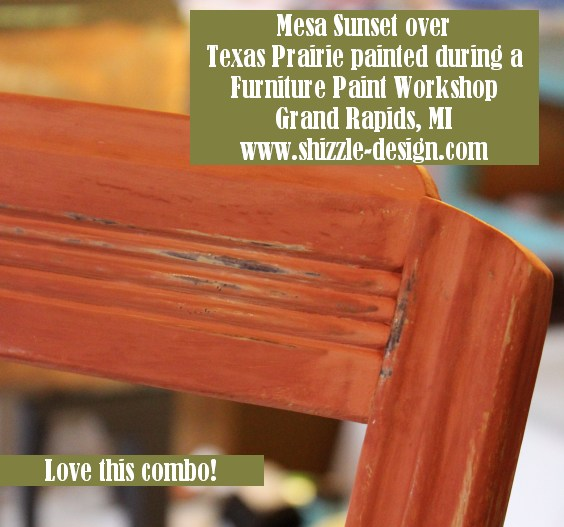 October #shizzledesign furniture paint workshops chalk clay best Grand Rapids MI how #cececaldwells #americanpaintcompany chair Texas Prairie Green Mesa Sunset orange
