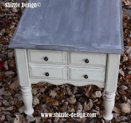 Omaha Ochre and Home Plate End Table over Virginia Chestnut with Smoke Signal Top Shizzle Design Grand RApids MI  CeCe Caldwell's American Paint Company 4