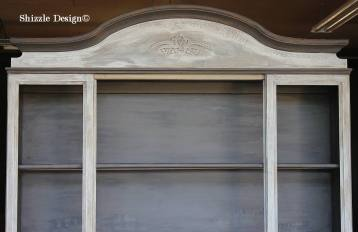 hand painted china cabinet hutch shizzle design grand rapids michigan display american paint company cece caldwell's 4