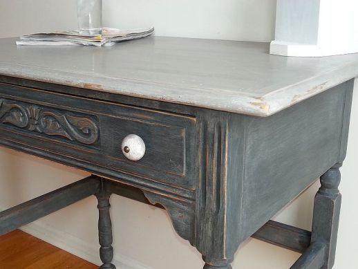 Desk hand painted by one of our students at our Shizzle Style Furniture Painting Workshop taught at MSU Vermont Slate Seattle Mist CeCe Caldwell's Paints