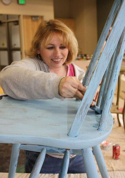 Shizzle Design Furniture Painting Workshop taught at Michigan State University CeCe Caldwell's Chalk Clay Paints ideas colors tables bench end tables tips MSU learn how to 4