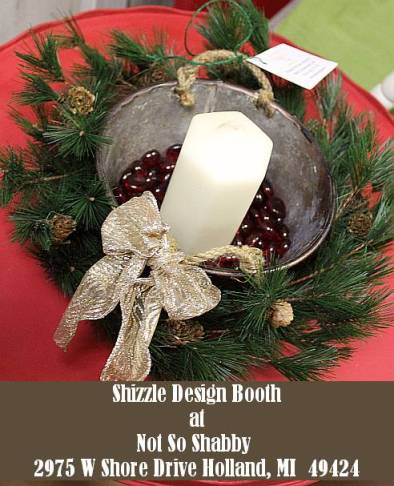 Shizzle Design Painted Furniture 2018 Chicago Drive Jenison Michigan 49428 Christmas Decor candle vintage metal bucket