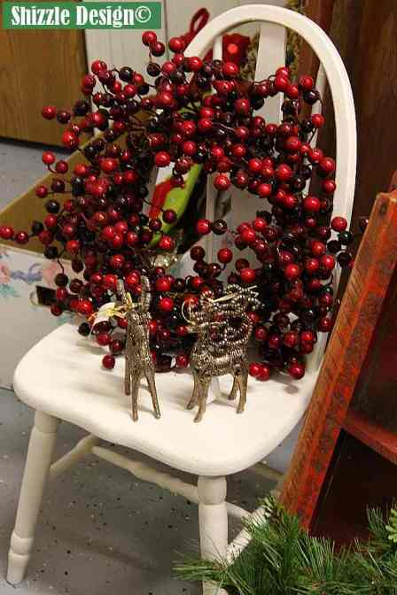 Shizzle Design Painted Furniture 2018 Chicago Drive Jenison Michigan 49428 Christmas Decor little white chair cranberry wreath