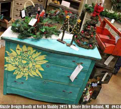 Shizzle Design Painted Furniture 2018 Chicago Drive Jenison Michigan 49428 Christmas Decor red door, teal dresser yellow flower