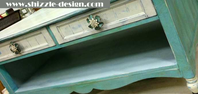Shizzle Design chalk and clay painted furniture coffee table turquoise American Paint Company Women's Expo