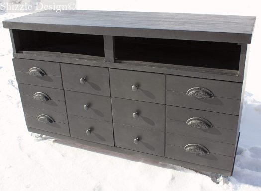Shizzle Design American Paint Company black entertainment center painted dresser repurposed chalk clay ideas 6 Lincoln's Hat