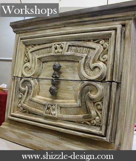 Shizzle Design furniture paint class workshop 2018 Chicago Dr Jenison MI  49428  learn how to layer wet distress wax CeCe Caldwell's Paints register onine shizzle shop table nightstand