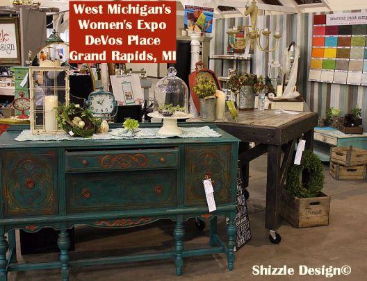2014 Michigan's Expo Shizzle Design painted furniture American Paint company chalk clay Paints 2018 Chicago Dr Jenison, MI  49428 DeVos Grand Rapids antique blue buffet - Copy - Copy - Copy