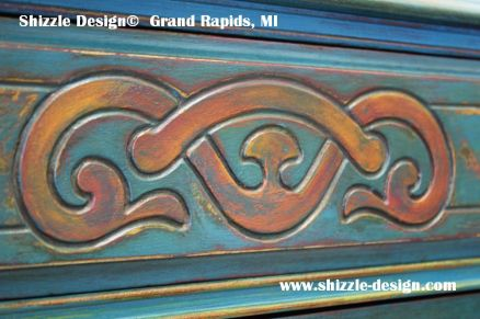 American Paint Company's Peacock hand painted antique buffet Shizzle Design 2018 Chicago Drive Jenison MI  49428 www.shizzle-design.com teal chalk clay paints
